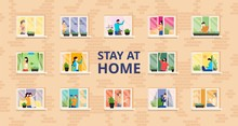 Stay At Home, Full People House Vector Illustration. Self Isolation, Social Distance At Residential Building With Open Windows. People Do Cleaning, Their Favorite Hobby, Spend Time With Family.