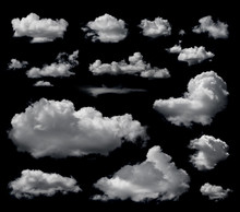 Clouds Set Isolated On Black Background. White Cloudiness, Mist Or Smog Background.
