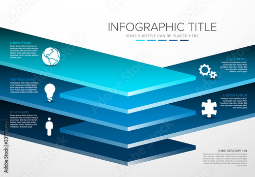 Vector Infographic layers desks template Canvas Print
