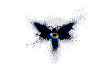 Beautiful Silhouette Of A Butterfly In Dark Blue Colors With Multi-colored Human Big Eye In The Center Of The Butterfly With Paint Splashes, Splatters And Blots Isolated On A White Background.