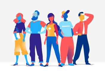 Squadra di personaggi colorati maschili e femminili isolati sullo sfondo bianco