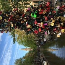 Bunch Of Padlocks Over Canal