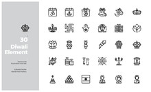 Vector Line Icons Set Of Diwal...