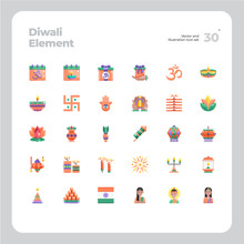 Vector Flat Icons Set Of Diwal...