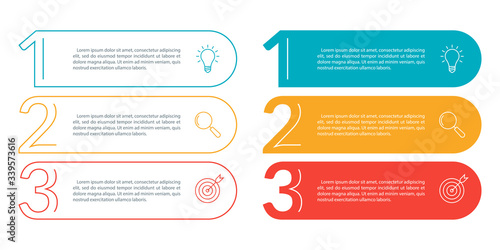 Fotografia 3 steps info graphic with business icons and copy space