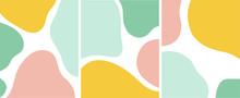 Abstract Organic Shapes Pastel Color Vector Illustration Set