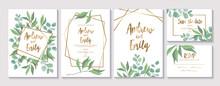 Set Of Wedding Floral Invitati...