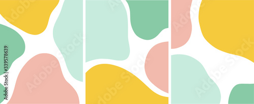 Fototapeta abstract organic shapes pastel color vector illustration set obraz