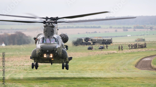 RAF Chinook helicopter on a training mission during Exercise Wessex Storm on Sal Wallpaper Mural