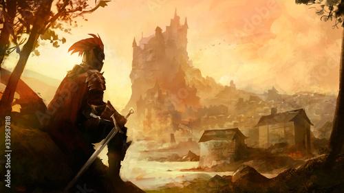 chevalier médieval assis devant un chateau Canvas-taulu