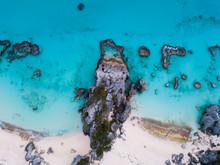 Aerial View Of Ocean Rocks In ...
