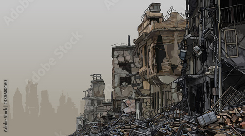 Photo urban background ruins of ruined buildings with trash below