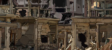 Background Of The Ruins Of Urban Buildings Close Up