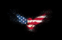 Usa Grunge Flag Silhouette Of A Flying Eagle With Spread Wings With Paint Splatters Isolated On A Black. American Flag Silhouette In A Form Of A Flying Eagle With Spread Wings With Paint Splash.
