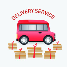 Express Delivery Truck. Vector Illustration. Fast Delivery Concept