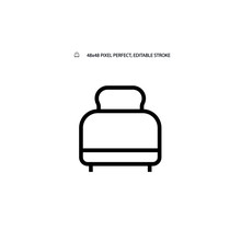 Toaster Simple Black Line Web Icon Vector Illustration. Editable Stroke. 48x48 Pixel Perfect.