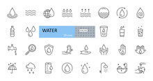 Vector Set Of Water Icons. Edi...