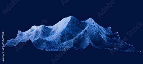 Obraz Mount Everest, relief height, mountains. Lhotse, Nuptse. Himalaya map. The highest mountain in the world. Hud, digital grid, display - fototapety do salonu