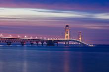 Mackinac Bridge In Sunset