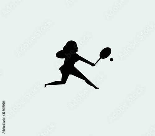 Silueta femenina golpeando con una raqueta una pelota de  tenis. Canvas Print