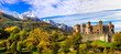 Leinwanddruck Bild - Medieval castles of Italy - beautiful Castello di Fenis in Valle d'Aosta surrounded by Alps mountains
