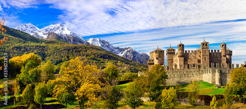 Fotomural Medieval castles of Italy - beautiful Castello di Fenis in Valle d'Aosta surroun