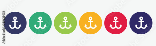 Foto Collection of 6 web buttons with anchor icon.