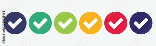 Obraz Collection of 6 colored buttons with checkmark icon. Vector illustration. - fototapety do salonu