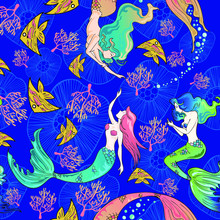 Colorful Of  Mermaid With Under Sea Life  With Jelly Fish Coral Doodle Illustation
