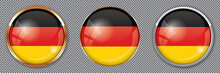 Round Buttons With Flag Of Germany On Transparent Background