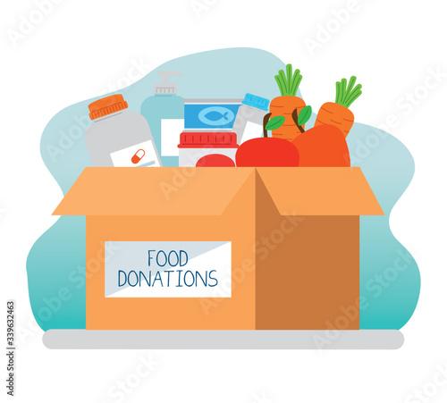 Fotografija charity donation box with food and medicine vector illustration design