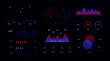 Business infographic UI set. Web dashboard statistic bar, chart, diagram, graph, futuristic digital mockup isolated on dark background. Data visualization user interface vector illustration