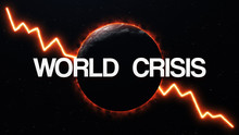 World Crisis Concept Symbol. Earth Globe In Fire With Falling Chart On Background