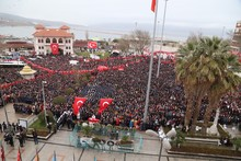 High Angle View Of Crowd During Homage