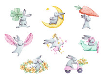 Cute Set Of Cartoon Watercolor Bunny. Summer Illustration. For Childrens Fabric, Textile, Print And Postcard.