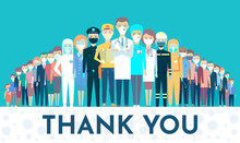 Postcard. Thank You. Honor For The Work Doctors, Nurses, Rescuers, Delivery Services, Postmen, Fireman, Policeman, Social Workers, Health Care Workers, Salesmen. Covid-19, Coronavirus, Pandemic