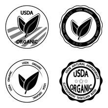 USDA Organic. Set Of Stamp For...