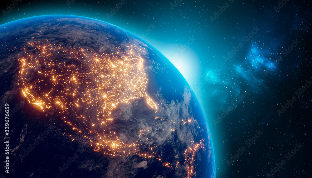 Fototapeta Earth at night from outer space with city lights on North America continent. 3D rendering illustration. Earth map texture provided by Nasa. Energy consumption, electricity, industry, ecology concepts.