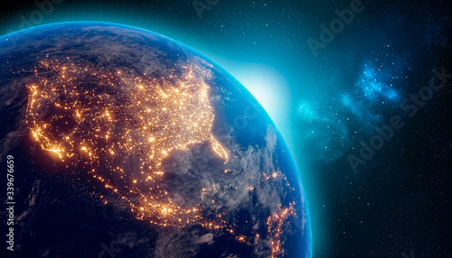 Fototapeta Earth at night from outer space with city lights on North America continent. 3D rendering illustration. Earth map texture provided by Nasa. Energy consumption, electricity, industry, ecology concepts. obraz