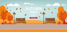 Hello Autumn, Sale Banner, Autumn Park, Flat Illustration, Vector