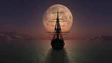 Old Ship In The Night Full Moon Illustration