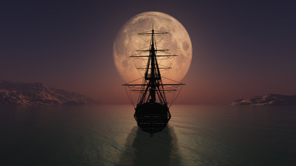 old ship in the night full moon illustration