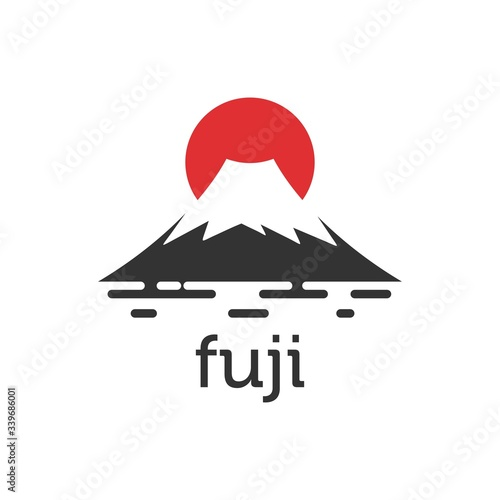 Valokuva fuji mountain and Sunset logo illustration