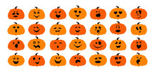 Funny Pumpkin With Face Flat C...