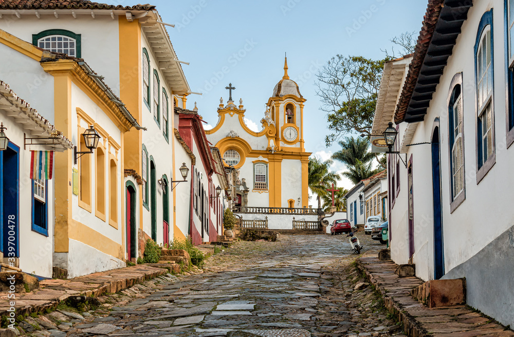 Tiradentes City Streets - Saint Anthony Church, Minas Gerais, Brazil