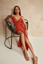 Fashion Model Brunette Hair Wear Red Silk Dress Sandals High Heels Accessory Clothes For Date Party Walk Interior Furniture Journey Summer Collection Plant Flowerpot Wall Stairs Beautiful Woman.