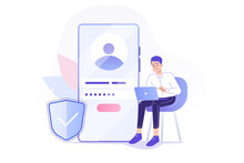 Online Registration And Sign Up Concept. Young Man Signing Up Or Login To Online Account On Huge Smartphone. User Interface. Secure Login And Password. Vector Illustration For UI, Mobile App, Web