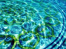 Full Frame Shot Of Mosaic Tiles In Blue Swimming Pool