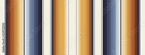 Indigo Blue, Amber Brown and Navajo White Southwestern Serape Blanket Stripes Seamless Vector Pattern Fototapeta