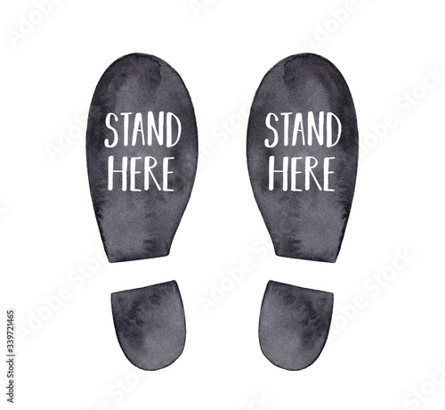 Fotomural Watercolor illustration of black footprint with inscription in English language: Stand Here